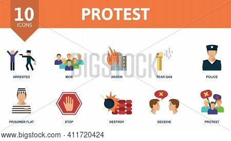 Protest Icon Set. Contains Editable Icons Protest Theme Such As Mob, Tear Gas, Prisoner And More.