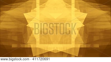 Shining Golden Mosaic Background. Texture Of Scratch, Dust. Gold Abstract Shiny Yellow Leaf Foil Tex