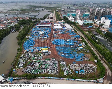 Aerial View Of Oil And Gas Industry - Refinery After Rain - Factory - Petrochemical Plant, Shot From