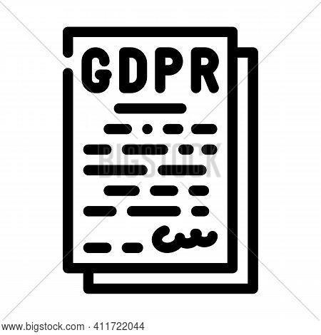 Gdpr General Data Protection Regulation In European Union Line Icon Vector Illustration