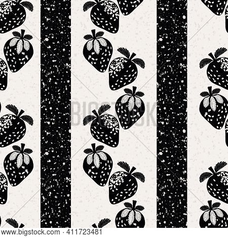 Strawberry Linocut Striped Seamless Vector Pattern Background. Alternating Columns Of Stencil Style