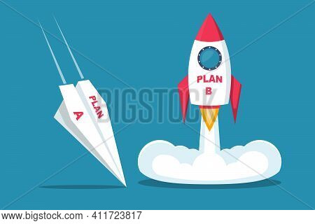 Launch Of Plan B. Business Metaphor. Plan A And Plan B. Vector Illustration Flat Design. Success Sol