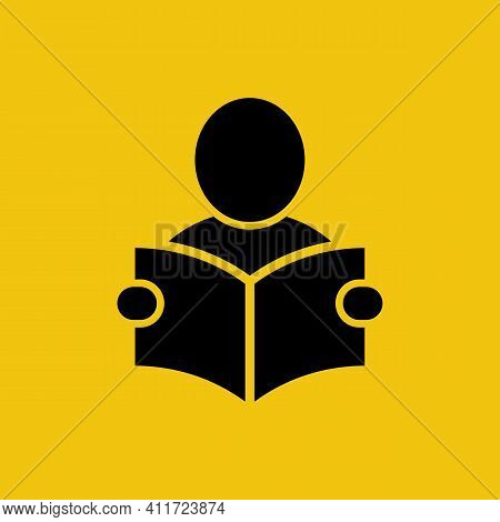 Reading Instructions. Silhouette Of A Man With An Open Book. Mandatory Study Of The Tutorial. Guide