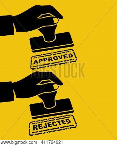 Black Icon Approved Stamp And Rejection Stamp In Hand Businessman. Green Approved. Red Rejection. Ve
