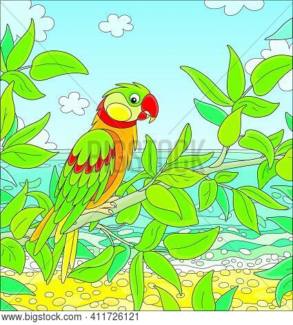 Amusing Colorful Parrot Perched On A Green Tree Branch In A Tropical Jungle Of An Exotic Southern Is