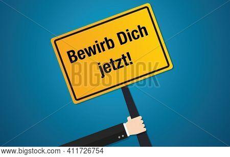 Apply Now Sign In German Text Application Job Hiring Flat Vector Design