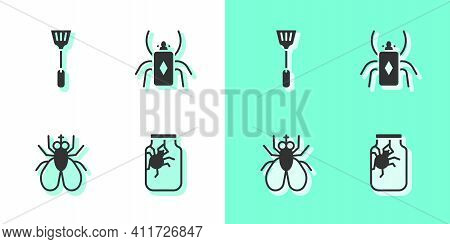 Set Spider In Jar, Fly Swatter, Insect Fly And Beetle Bug Icon. Vector