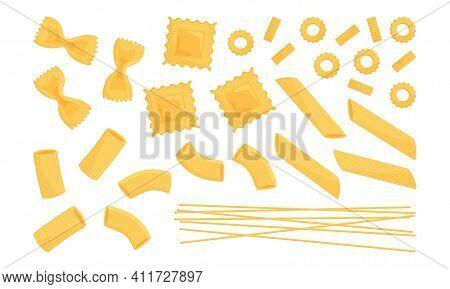 Italian Pasta Vector Set. Wheat Different Types Raw Food. Macaroni, Spaghetti, Noodle, Farfalle, Pen