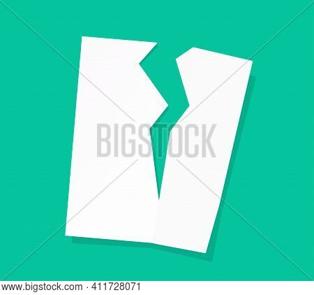 Broken Paper Document Page Sheet Vector Or Breach Of Agreement Idea Flat Cartoon Icon, Tear Off File