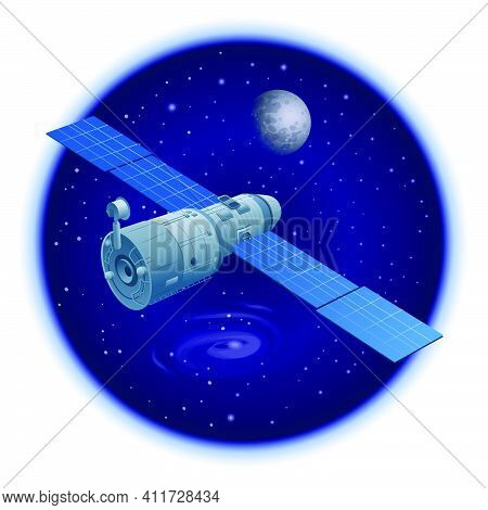 Illustration Of The Floating Orbital Station In Outer Space