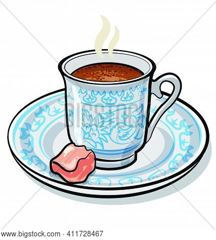 Illustration Of The Flavour Traditional Turkish Coffee On The White Background