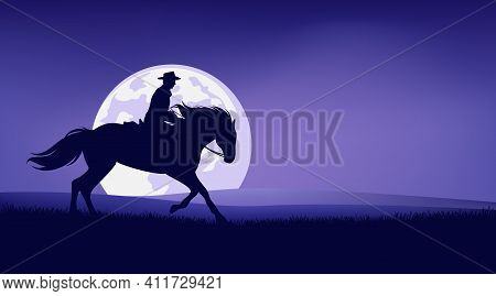 American Cowboy Riding Horse In Prairie Against Full Moon - Legend Wild West Scene Silhouette Landsc