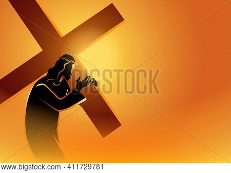 Biblical Vector Illustration Series. Way Of The Cross Or Stations Of The Cross,  Jesus Accepts His C