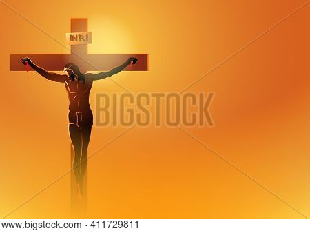 Biblical Vector Illustration Series. Way Of The Cross Or Stations Of The Cross, Jesus Dies On The Cr