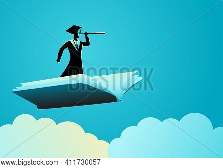 Education Concept Illustration Of Man With Toga Using Telescope On Flying Book, Knowledge, Reference