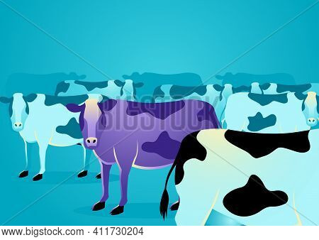 Business Concept Vector Illustration Of A Purple Cow Amongst Ordinary Cows, Marketing Concept That S