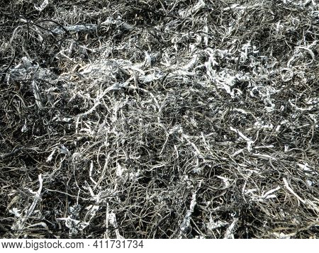 Background From The Ashes Of The Burnt Grass. Plant Ash On The Field After The Fire Burned.