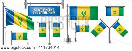Vector Set Of The National Flag Of Saint Vincent And The Grenadines