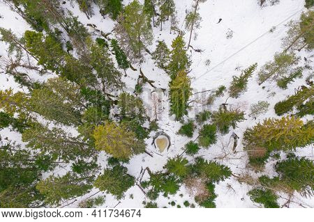 Winter Landscape In Forest, Drone. Glacial Potholes In Askola, Finland. Good Quality