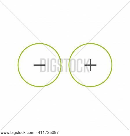 Plus And Minus Circle Flat Vector Icons Isolated On White. Add Or Plus Purchase Pictogram. Good For