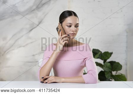 Serious Beautiful Elegant Girl, Young Attractive Pretty Sad Upset Frustrated Bored Woman Is Talking