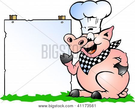 Hand-drawn Vector Illustration Of An Chef Pig Standing And Pointing Towards A Sign