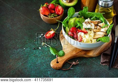 Healthy Food, Diet Lunch Menu Concept, Ketogenic Diet And Paleo Diet. Couscous Salad With Strawberri