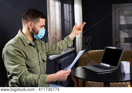 Busy Businessman In Pandemic Concept. Online Affair. Laptop With Black Blank Empty Screen, Boss Wear