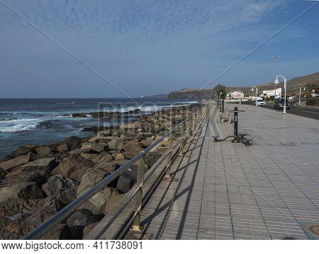 Puerto De Las Nieves, Agaete, Gran Canaria, Canary Islands, Spain December 17, 2020: View Of Seaside