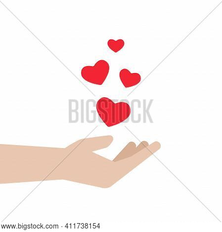 Hand With Red Flying Hearts On White Background. Charity, Philanthropy, Giving Help, Love Concept. S