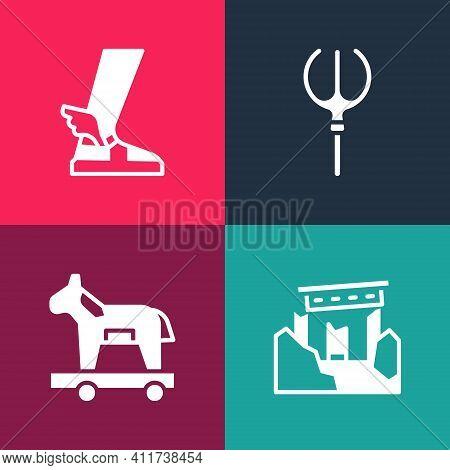 Set Pop Art Ancient Ruins, Trojan Horse, Neptune Trident And Hermes Sandal Icon. Vector
