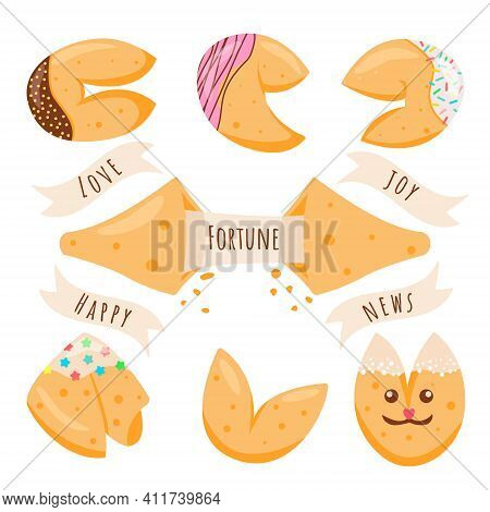 A Fortune Cookie Set. Crisp Cookie With A Blank Piece Of Paper Inside. Vector Illustration