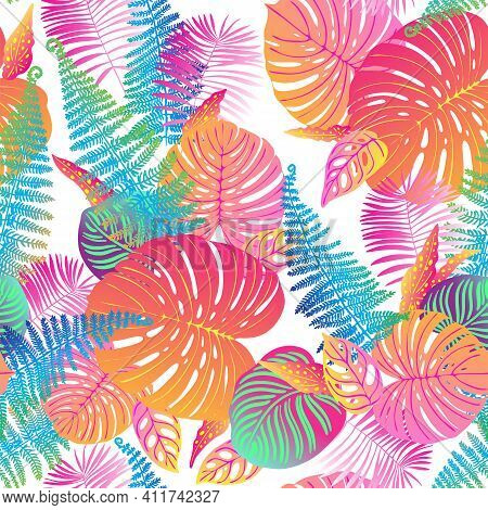 Pattern Vector Neon Tropical Leaves Of Palm, Monstera, Fern. Pink, Purple And Blue Plants