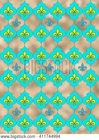 Seamless Lily Fleur De Lis Background. Turquoise Blue Silver Shiny Pattern With Heraldic Symbol Fleu