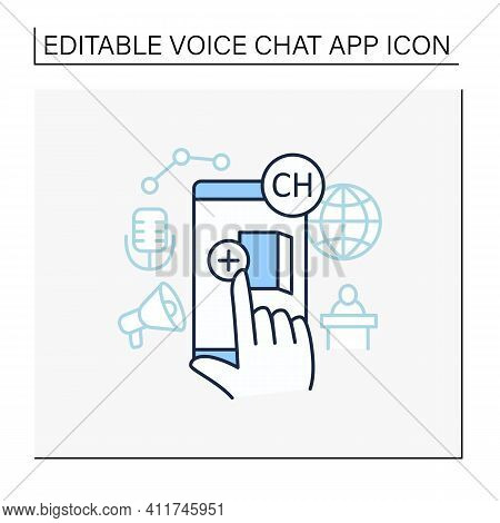 Room Creating Line Icon. Creating Own Room In App. Inviting Friends. Communication Room , Recording