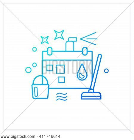 Holiday Cleaning Gradient Icon Spring Cleaning. Sweeping, Wiping.cleanup Calendar, Schedule. House M