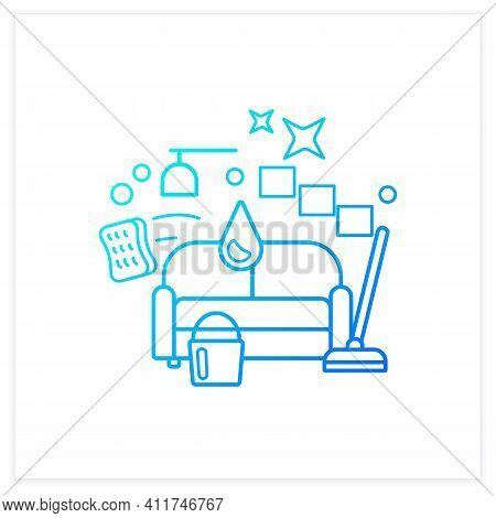 Living Room Cleaning Gradient Icon. Home Cleanup. Sofa Dry. Clutter Cleanup. Mopping, Wiping, Dustin