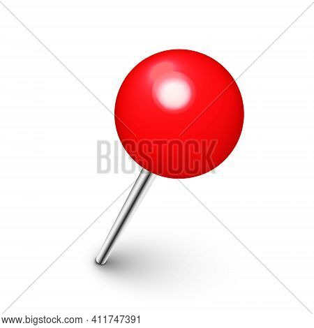Realistic Red Push Pin. Board Tack Isolated On White Background. Plastic Pushpin With Needle. Vector