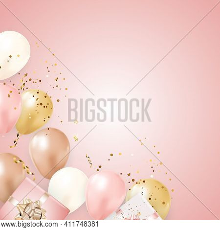 Party Glossy Holiday Background With Balloons, Gift Box And Confetti. Vector Illustration
