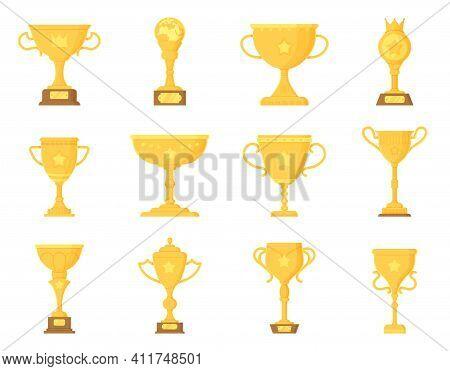 Sport Winner Trophy Elements Set. Golden Prize. Championship Cup, Triumph Goblet Concept.