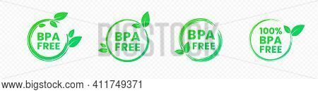 Bpa Free Icons. No Bisphenol A And Phthalates Round Labels In Bright Green Color With Leaves. Vector