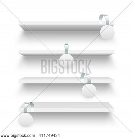 Store Shelves And Supermarket Promotional Wobblers Isolated On White Background. Product Shelf With