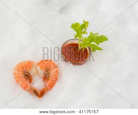 Prawn Heart In Snow With Cocktail Sauce