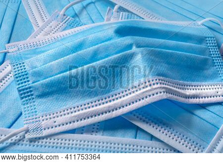 Blue Medical Disposable Face Mask, close up
