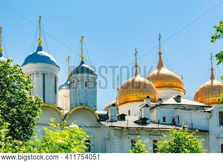 Cathedral Of The Dormition (uspensky Sobor) Or Assumption Cathedral And Patriarshy Cathedral Of Mosc