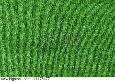 Texture Of Green Fleecy Fabric. Green Background Texture