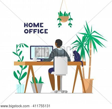 Afro American Man Working At Computer From Home. Home Office With Plants And Cat. Flat Vector Illust
