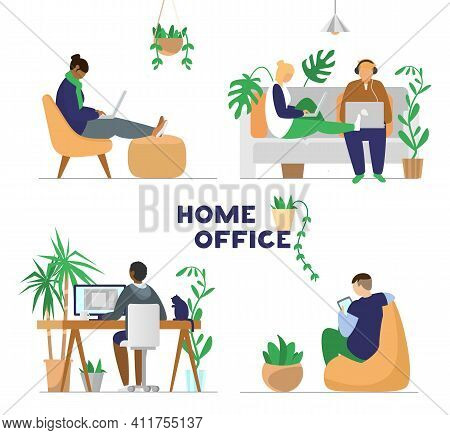 Set Of Different People Working Or Studying With Laptops, Computer, Tablet  From Home. Home Office C