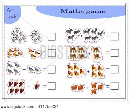 Math Game For Kids Addition And Subtraction Problems. Count How Many There Are Vector Illustration W