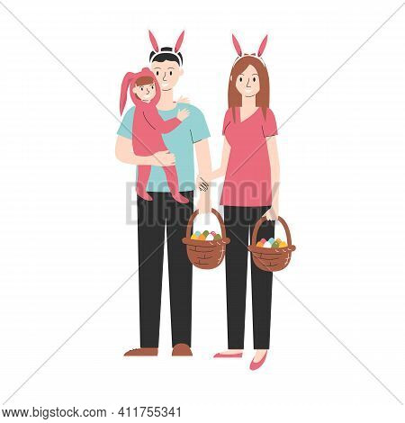 Cute Easter European Family Isolated On White. Dad Holding Daughter In Bunny Costume And Basket Of P